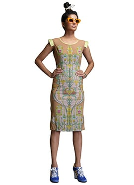 Nida Mahmood Brown Digital Print Bodycon Dress