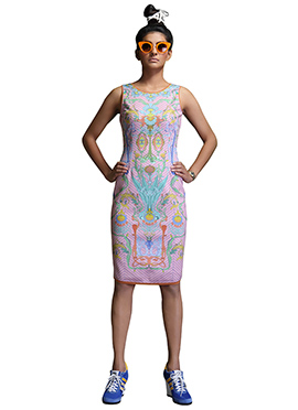 Nida Mahmood Pink Digital Print Bodycon Dress