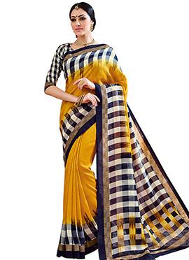 Ochre Bhagalpuri Silk Printed Saree