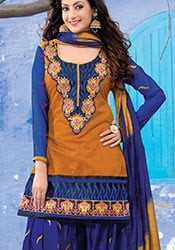 Ochre Chanderi Cotton Patiala Suit