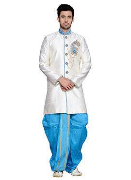 Off White Art Silk Dhoti Style Sherwani