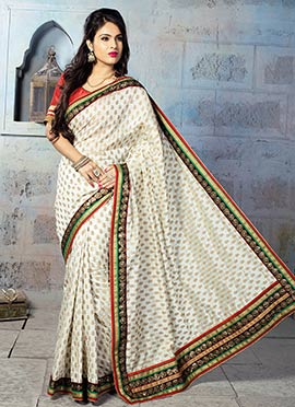 Off White Art Silk Jacquard Designed Saree