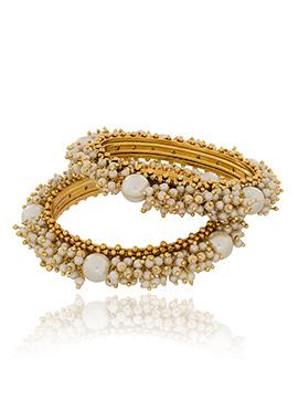 Off White Beads Golden Bangles
