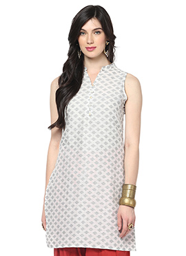 Off White Blended Cotton Ethnic Kurti from Home In