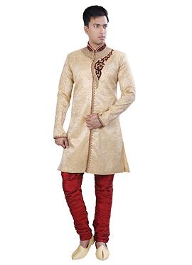 Off White Breeches Style Sherwani