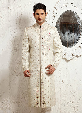 Off White Brocade Sherwani