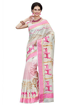 Off White Chanderi Embroidered Saree
