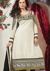 Off white Cotton Chikan Churidar Suit