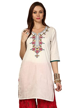 Off White Cotton Ethnic Kurti from Home India