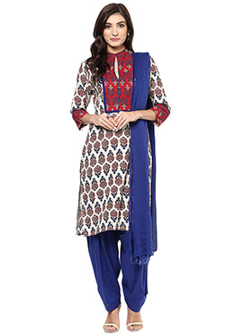 Off White Cotton Printed Salwar Suit