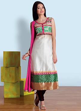 Off White Cotton Silk Churidar Suit