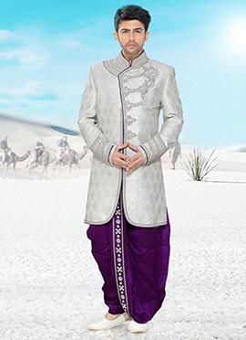 Off White Dhoti Style Sherwani