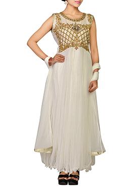 Off White Embellished Net Anarkali Suit