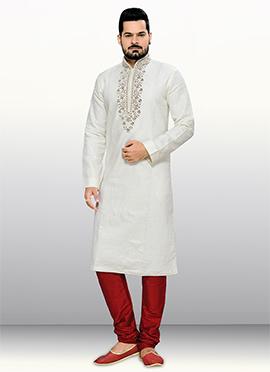Off White Embroidered Neck Kurta Pyjama