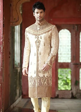 Cream Embroidered Sherwani