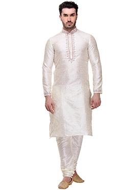 Off White Foliage Design Kurta Pyjama