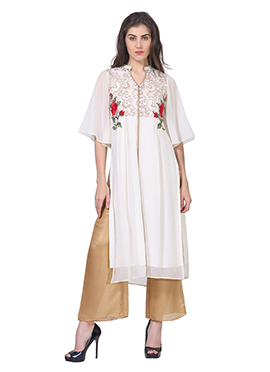 Off White Georgette Embroidered Long Kurti