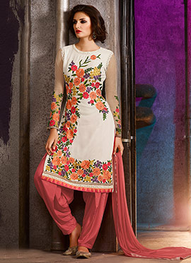 Off White Georgette Embroidered Semi Patiala Suit