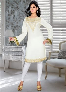 Off White Georgette Kurti
