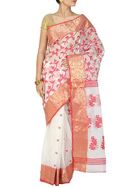 Off White Handloom Cotton Jamdani Saree