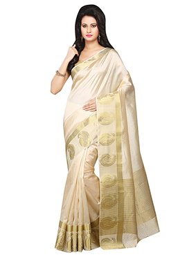 Off White Kanjivaram Art Silk Saree