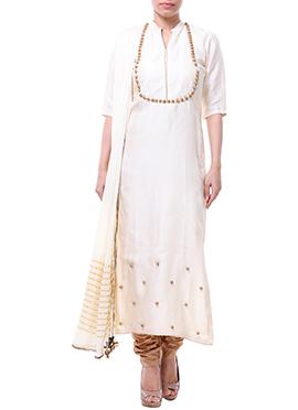 Off White Label ISHI Raw Silk Churidar Suit
