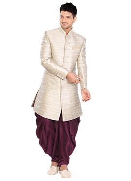 Off White Linen Indowestern Sherwani