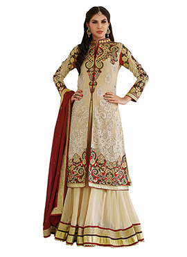 Beige Long Choli Lehenga Suit