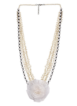 Off White Multilayered Bead Ornate Necklace