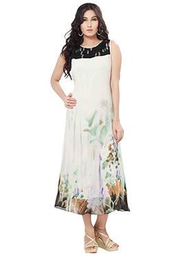Off White N Black Georgette Long Kurti
