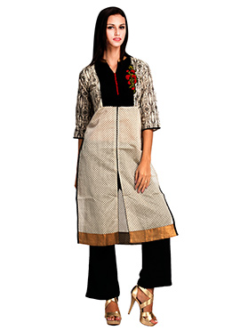 Off White N Black Printed Kurti