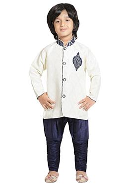 Off White N Blue Breeches Kurta Pyjama