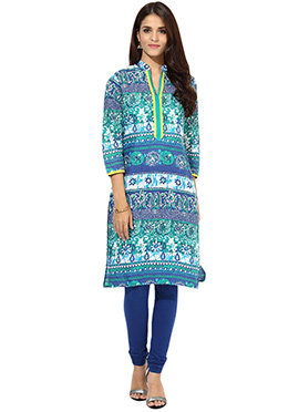 Off White N Blue Cotton Kurti