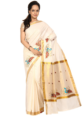 Off White N Blue Cotton Saree