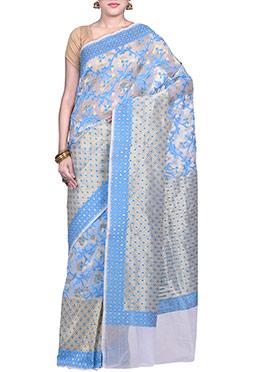 Off White N Blue Jacquard Art Silk Saree