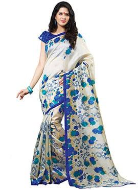Off White N Blue Tussar Silk Printed Saree