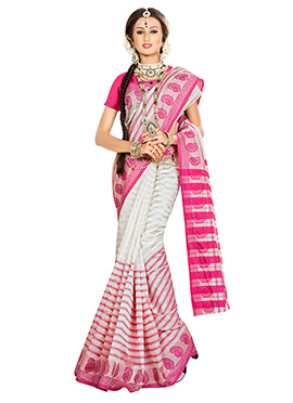 Off White N Deep Pink Striped Art Silk Saree