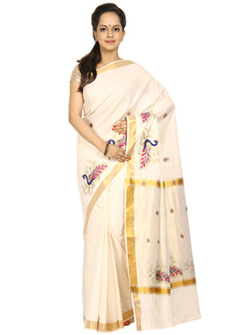 Off White N Gold Cotton Saree