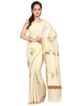 Off White N Gold Saree
