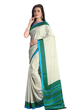 Off White N Green Art Silk Saree