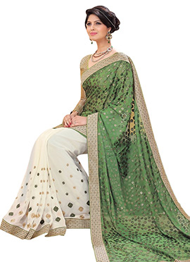 Off White N Green Half N Half Saree