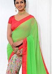 Multicolor N Green Ishita Half N Half Saree