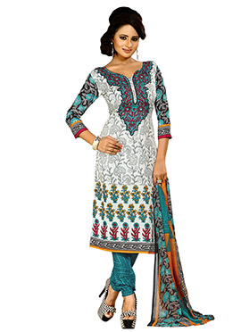 Off White N Green Printed Churidar Suit