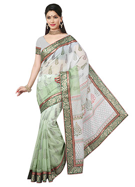 Off White N Light Green Ombre Cotton Saree