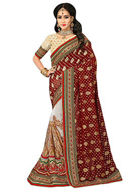 Off White N Maroon Foliage Designed Half N Half Saree