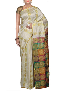 Off White Kanjivaram Art Silk Saree