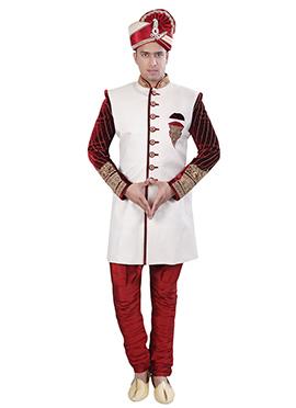 Off White N Maroon Sherwani