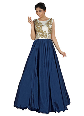 Off White N Navy Blue Flared Gown