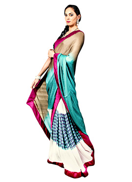 Off White N Ombre Half N Half Saree