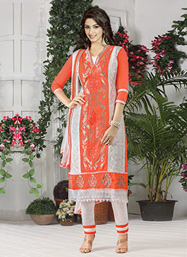 Off White N Orange Embroidered Straight Suit